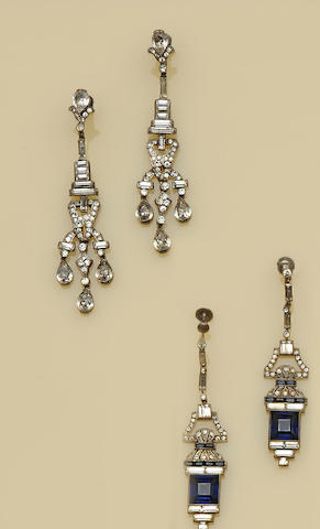 Two pairs of Art Deco paste earpendants and further jewellery (quantity)