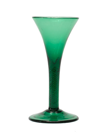 An emerald-green tinted airtwist glass