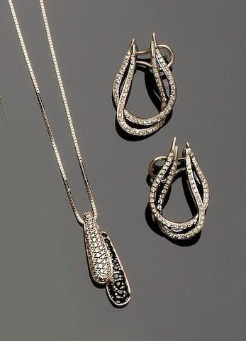 A sapphire and diamond pendant necklace and a pair of diamond earpendants (2)