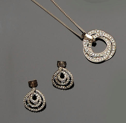 A diamond pendant necklace and a pair of diamond earstuds (2)