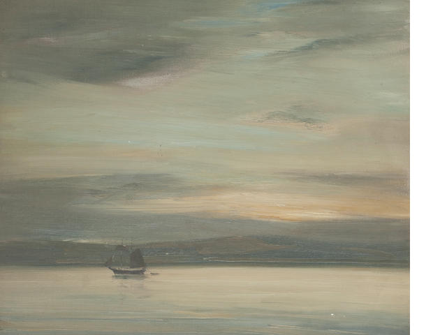 Robert Burns, ARSA (British, 1869-1941) Evening, probably the Solway 50 x 60 cm. (19 11/16 x 23 5/8 in.)