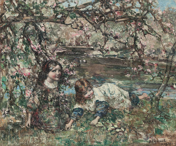 Edward Atkinson Hornel (British, 1864-1933) Picking primroses 50 x 60 cm. (19 11/16 x 23 5/8 in.)