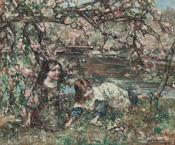 Edward Atkinson Hornel (British, 1864-1933) Picking primroses 50 x 60 cm. (19 11/16 x 23 5/8 in.)