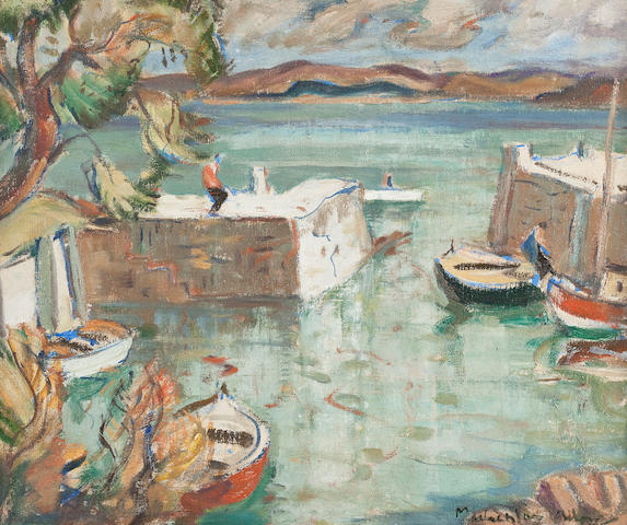 John Maclauchlan Milne RSA (British, 1886-1957) Corrie Harbour, Arran 50 x 60 cm. (19 11/16 x 23 5/8 in.)