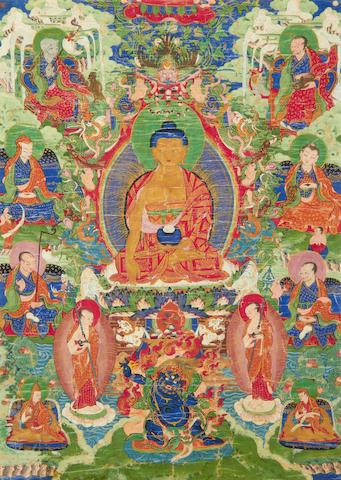 A thanka of Sakyamuni