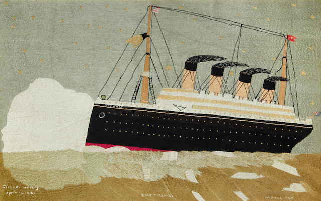 An embroidered silkwork picture of RMS Titanic 21.7x36ins. (58x92cm)