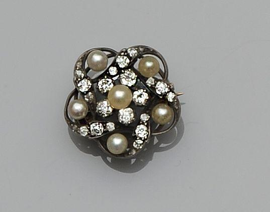 A late 19th century diamond and pearl brooch