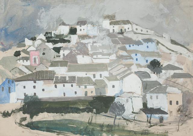 Anne Redpath, OBE RSA ARA LLD ARWS ROI RBA (British, 1895-1965) Continental hill town 30 x 42cm. (11 13/16 x 16 9/16in.)
