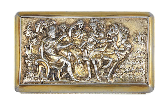 A George III silver-gilt snuff box by William Parker, London 1808