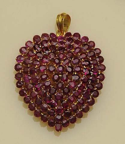 A ruby heart pendant