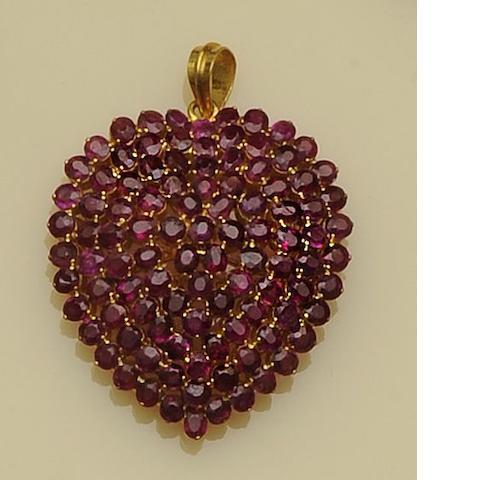 A ruby heart pendant