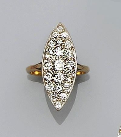 A diamond set marquise panel ring