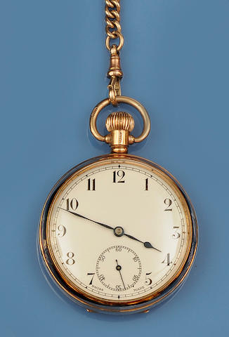 A 9ct gold Albert chain and open face pocket watch(2)