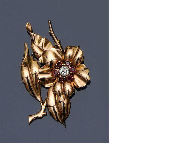 A ruby and diamond flower brooch,