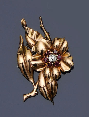 A ruby and diamond flower brooch,