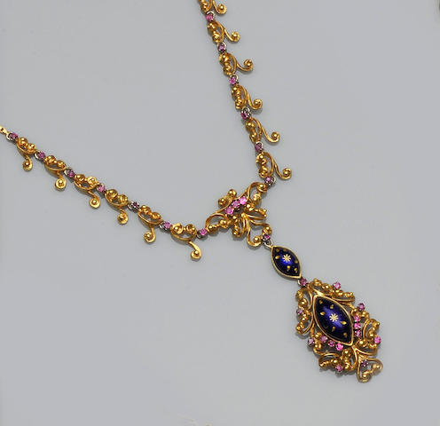 An enamel and gem set pendant necklace