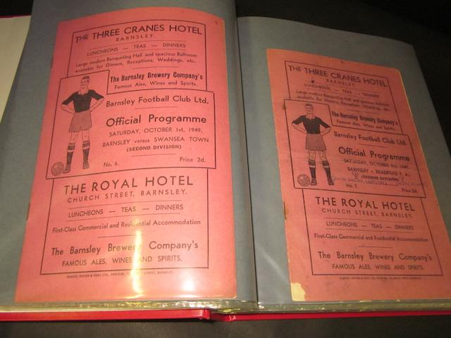 A complete collection of 1949/50 Barnsley home and away football programmes