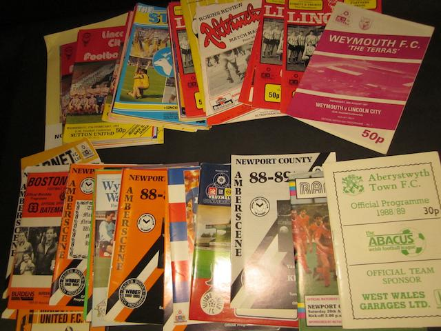A complete collection of 1987/88 Lincoln City and 1988/89 Newport County home and away football programmes