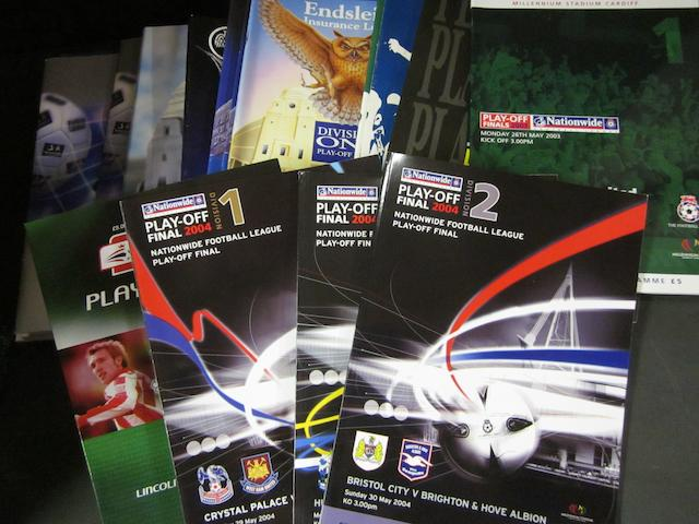 A collection of play-off final football programmes 1990 to 2005