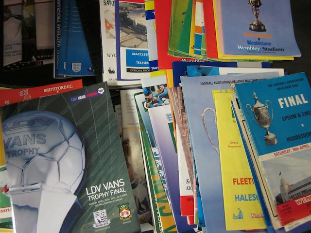 A collection of F.A. Trophy/Associate Cups and F.A. Vase football programmes