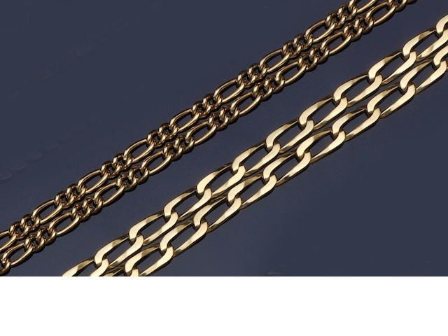 Two 9ct gold chains (2)