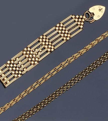 A 9ct gold reeded gate-link bracelet Together with an 18ct gold baton-link chain necklace and a 9ct gold belcher-link chain, weights: first 36gm, second 21gm, third 23gm.