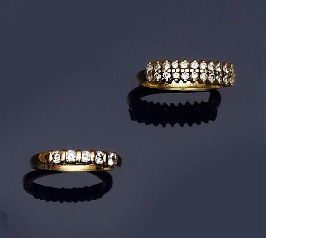 A diamond five stone ring and a diamond half hoop ring (2)