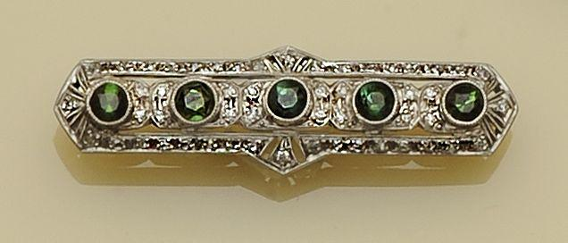 A synthetic ruby and diamond brooch and a tourmaline and diamond bar brooch (2)