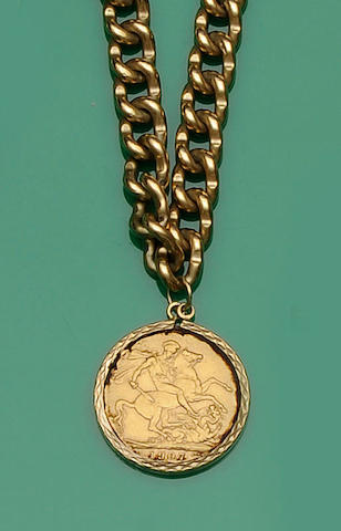 A 9ct gold bracelet with sovereign pendant
