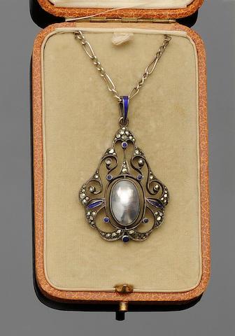 A Jugendstil pearl, enamel and marcasite pendant, by Heinrich Levinger