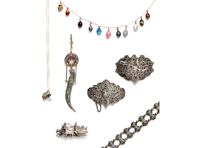 A collection of late 19th century and later Russian jewellery (quantity)