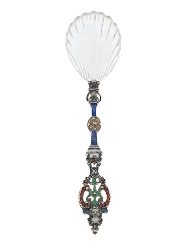 A late 19th century Austro-Hungarian hardstone mounted silver and enamelled spoon, maker's mark mistruck, possibly Herman Böhm,