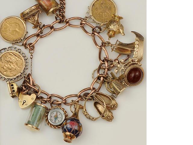 A 9ct gold charm bracelet
