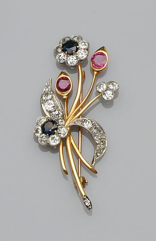 A ruby, sapphire and diamond brooch