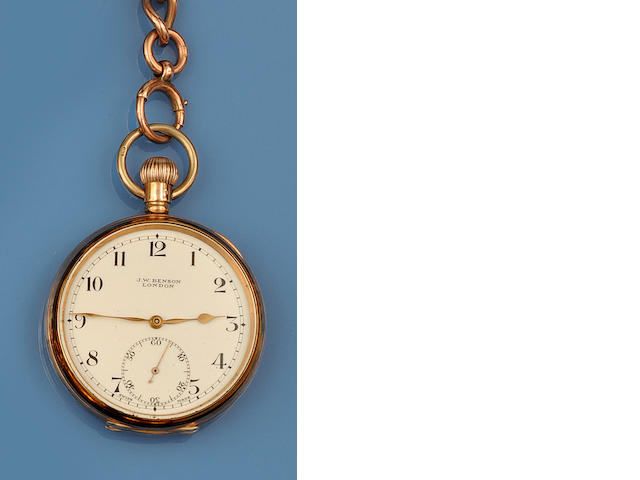 J W Benson: A 9ct gold pocket watch and a rose gold Albert chain