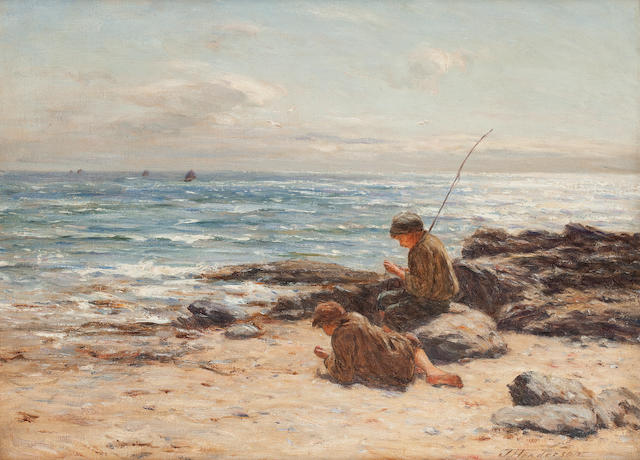 Joseph Henderson, RSW (British, 1832-1908) Waiting for the tide 44.5 x 60cm. (17 1/2 x 23 5/8in.)