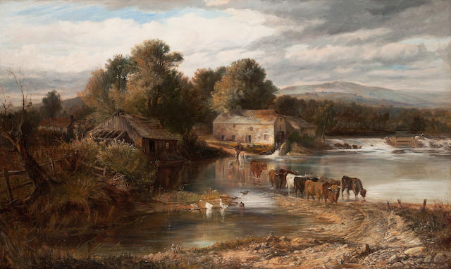 Joseph Denovan Adam, RSA RSW (British, 1842-1896) Stragaith Mill, Crieff 75 x 126 cm. (29 1/2 x 49 5/8 in.)