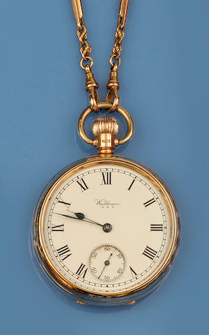Waltham: A 9ct gold open face pocket watch, and an Albert chain(2)