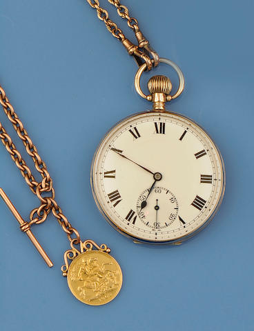 A 9ct gold open face pocket watch(4)