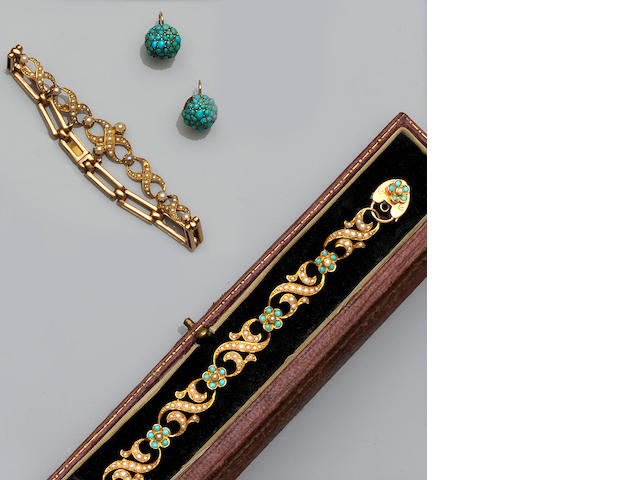 A Victorian turquoise and seed pearl bracelet (3)