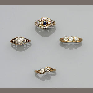 A collection of four diamond set rings, (4)
