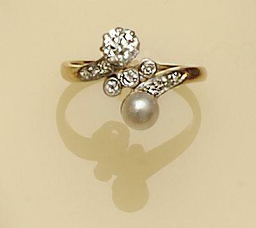 A diamond and pearl crossover ring