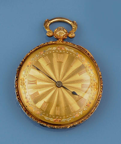 An 18ct three colour gold open face key wind pocket watch, circa 1830s