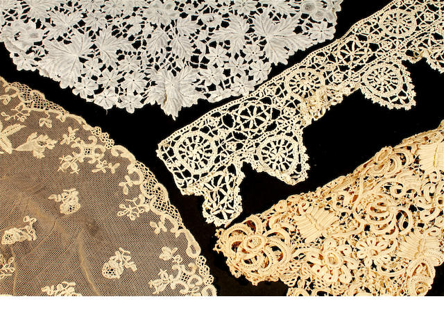 A border of bobbin lace in the scallop edged style of Reticella