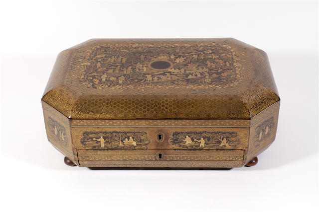 A 19th century Chinese black and gilt lacquered work box