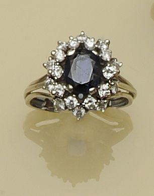 A sapphire and diamond dress ring, circa 1970s