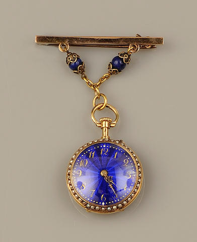 An enamel, diamond and seed pearl fob watch