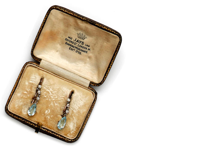 A pair of early 20th century aquamarine, diamond and pearl earpendants