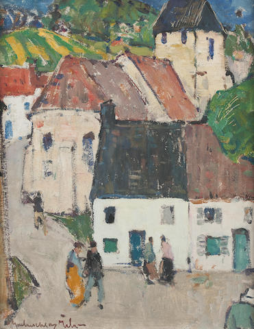 John Maclauchlan Milne RSA (British, 1886-1957) A French village 45.5 x 37 cm. (17 15/16 x 14 9/16 in.)