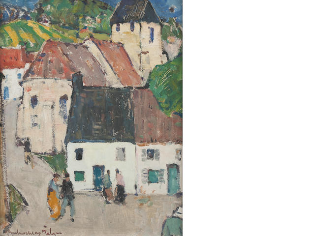 John MacLauchlan Milne, RSA (British, 1886-1957) A French village, possibly Lavardin 45.5 x 37 cm. (17 15/16 x 14 9/16 in.)